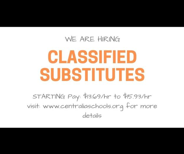 We Are Hiring Classified Substitutes
