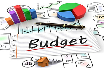 budget graphic with graphs and charts