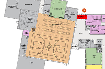 floorplan showing gymnasiums at elementary schools