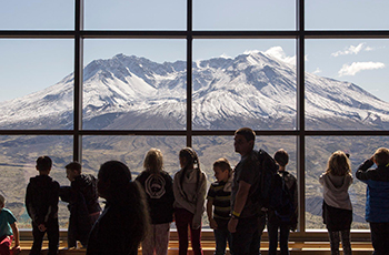 students observing Mt. St. Helens