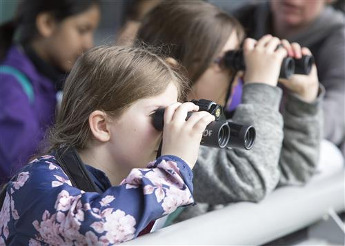 students looking through binoculars
