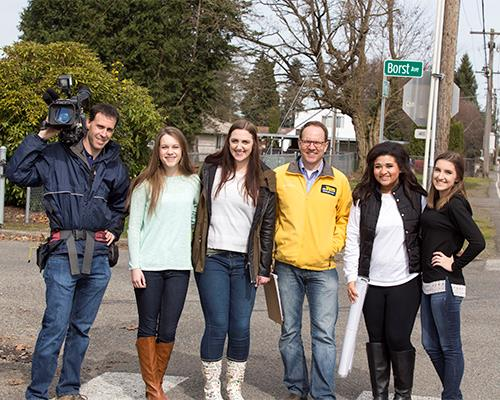 King 5 news crew with students