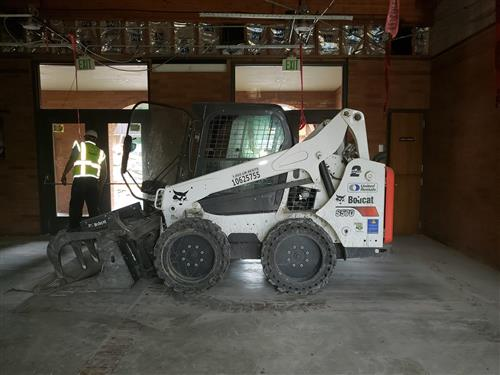 excavator packed inside CHS